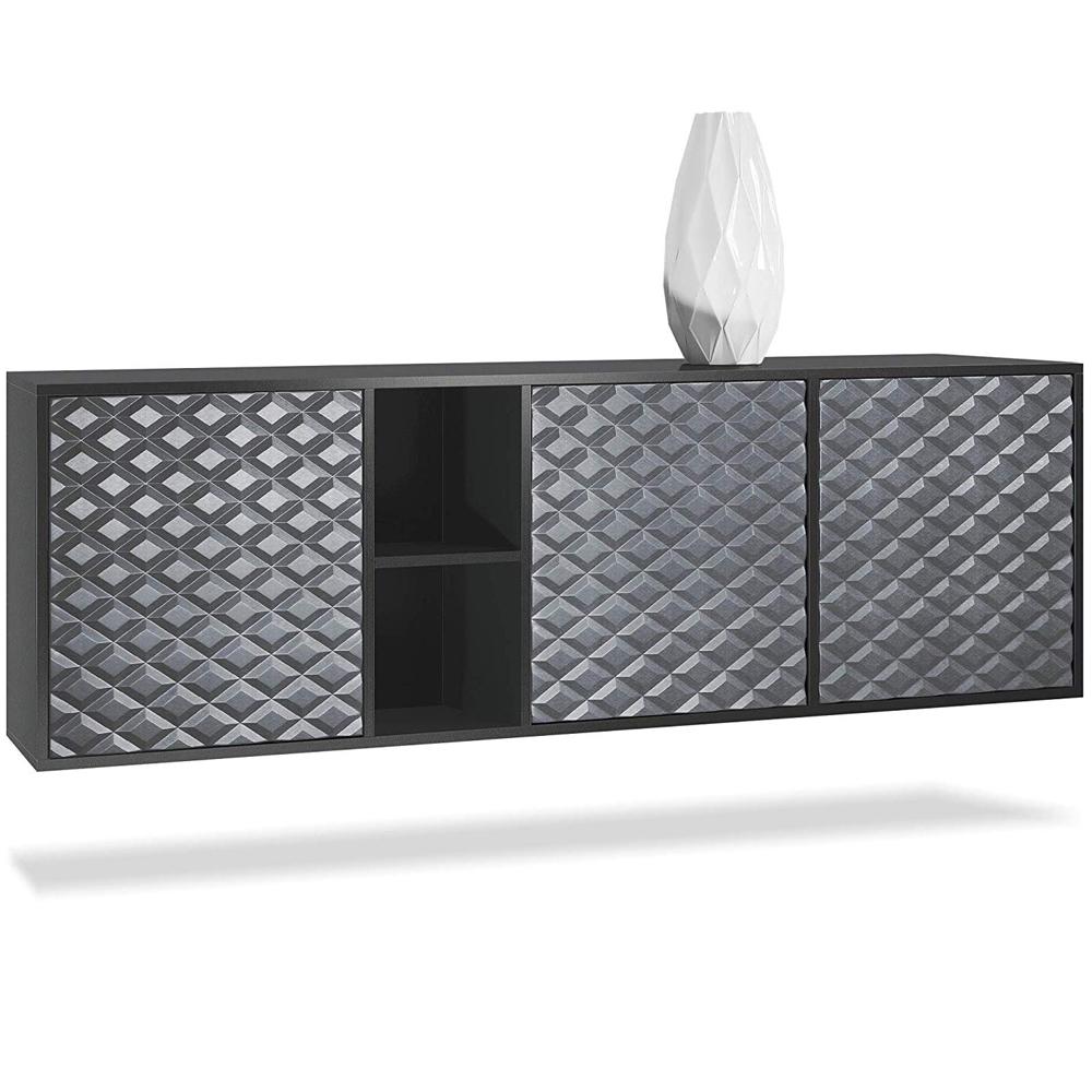 Cuba Sideboard haengend Schwarz 3D Fronten mit Regalelement