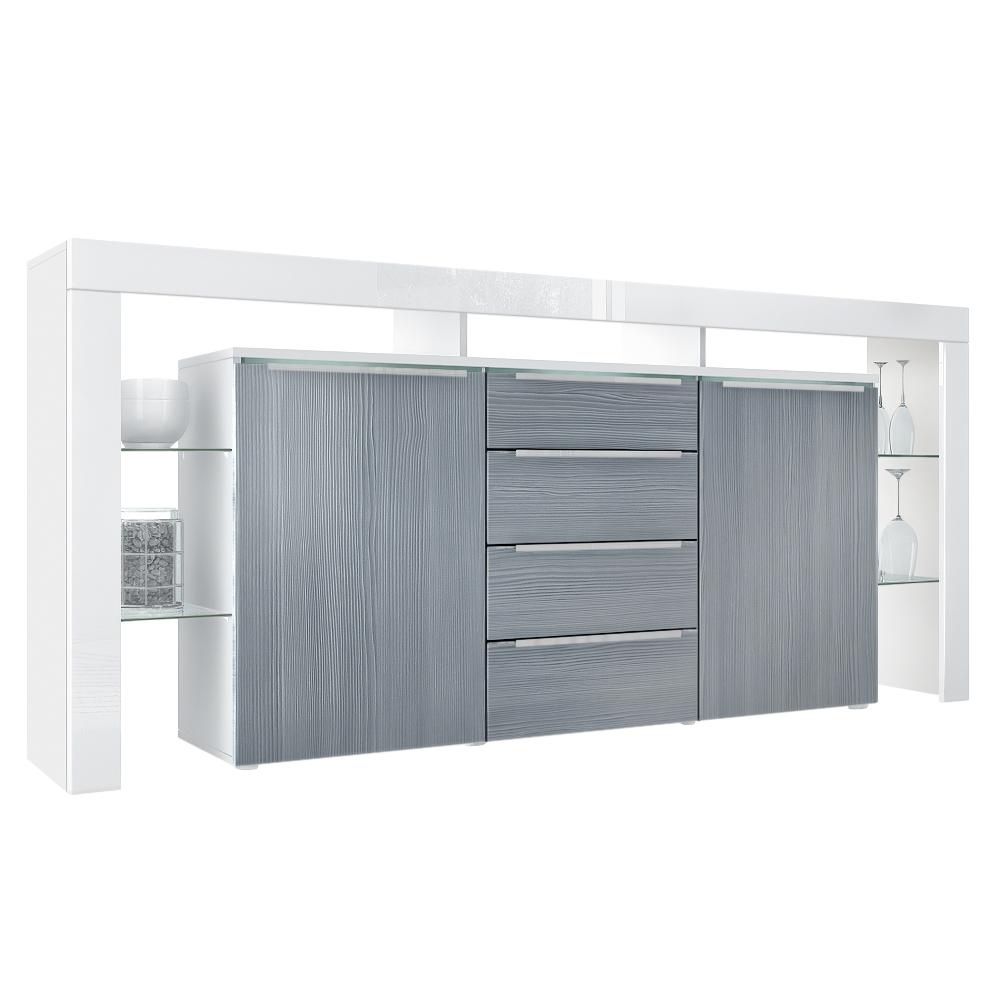 Modernes Sideboard Lima Nova Weiß Anthrazit