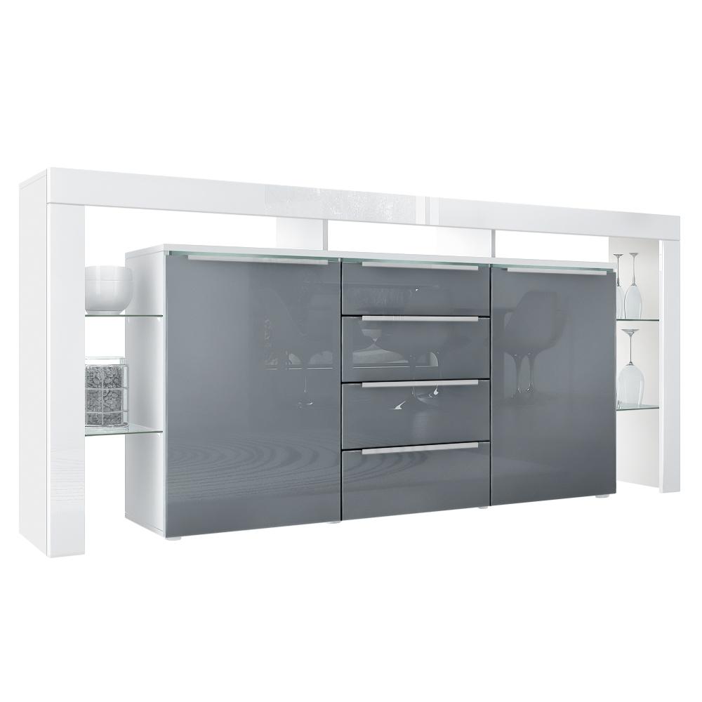 Modernes Sideboard Lima Nova Weiß Grau