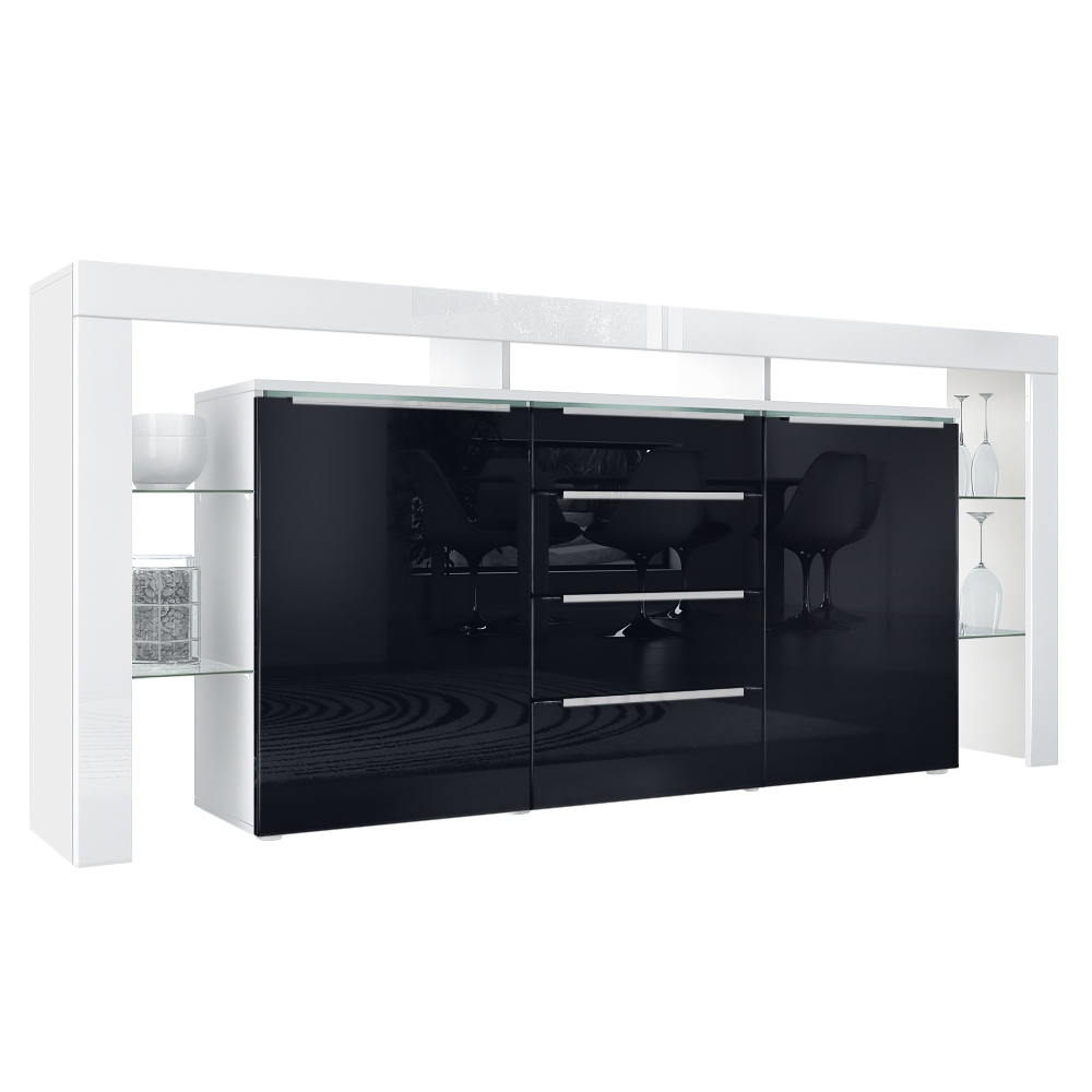 Modernes Sideboard Lima Nova Weiß Schwarz